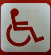 Red accessibility sign