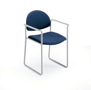 upholstered stacking chair sled base with arms