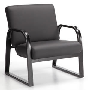 Onyx arm chair black metal frame and cushions