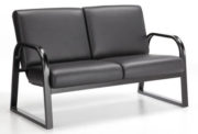 Onyx loveseat black metal frame black cushions