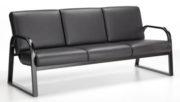 Onyx Sofa black metal frame black cushions