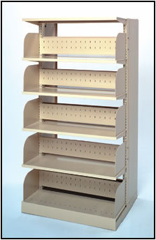 Modular steel shelving unit