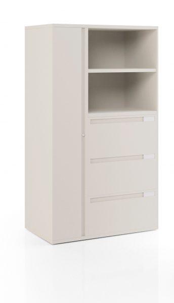 Series XXI Kiosque avec armoire verticale, trois armoires latérales et deux étagères