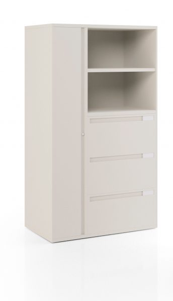 Series XXI Kiosk with verticle cabinet, three lateral cabinets and two shelves