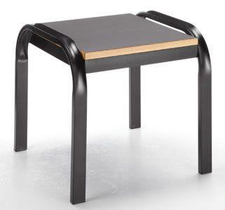 Onyx table d'appoint avec cadre de table en métal noir et plateau en bois