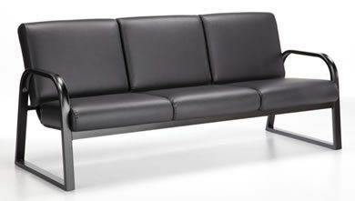 Onyx Canapé avec structure en métal noir et coussins noirs