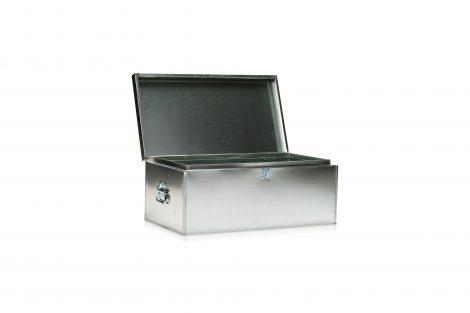 Galvanized Foot Locker with Handles (Opened)
