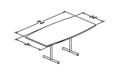 e base flip top tables, boat shape T configuration