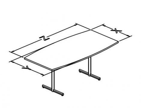 p base folding table boat shap t conf