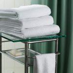 Rideau de douche et serviettes de dossier